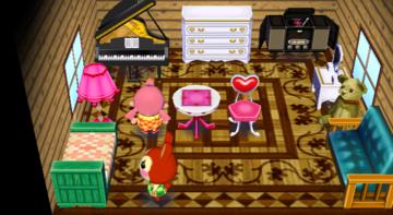 Interior of Bunnie's house in Animal Crossing: City Folk
