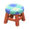 Wooden Stool (Cherry Wood - Blue) NH Icon.png
