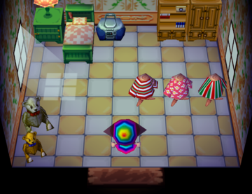 Interior of Bea's house in Animal Crossing