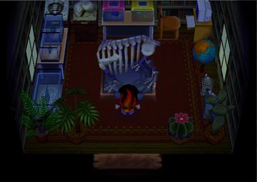 Interior of Derwin's house in Animal Crossing