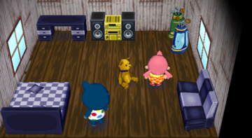 Interior of Groucho's house in Animal Crossing: City Folk