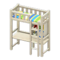 Loft Bed with Desk (White - Green Stripes) NH Icon.png
