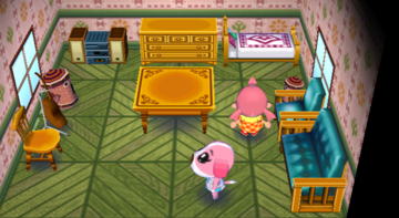Interior of Cookie's house in Animal Crossing: City Folk