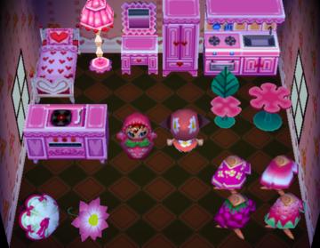 Interior of Liz's house in Animal Crossing