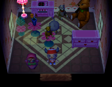 Interior of Olive's house in Animal Crossing
