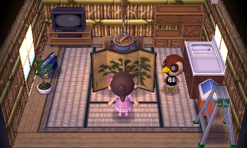 Interior of Sparro's house in Animal Crossing: New Leaf
