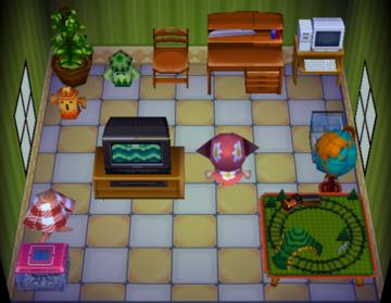 Interior of Boris's house in Animal Crossing