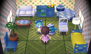 Interior of Bluebear's house in Animal Crossing: New Leaf