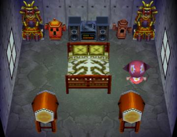Interior of Peewee's house in Animal Crossing
