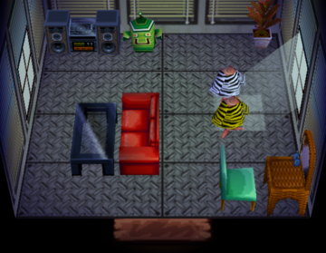 Interior of Bitty's house in Animal Crossing