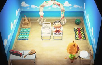 Interior of Bud's house in Animal Crossing: New Horizons