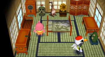 Interior of Gladys's house in Animal Crossing: City Folk