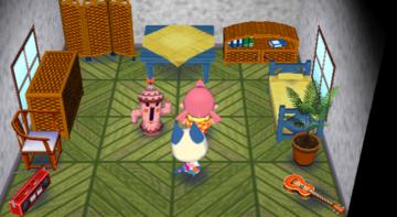 Interior of Mitzi's house in Animal Crossing: City Folk