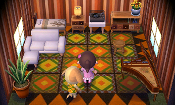 Interior of Goldie's house in Animal Crossing: New Leaf