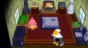 Interior of Apollo's house in Animal Crossing: City Folk