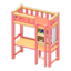 Loft Bed with Desk (Pink - Orange)