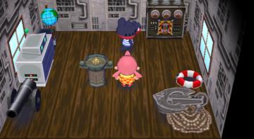 Interior of Del's house in Animal Crossing: City Folk