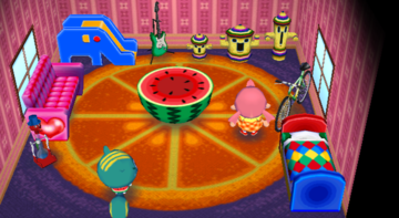 Interior of Nibbles's house in Animal Crossing: City Folk