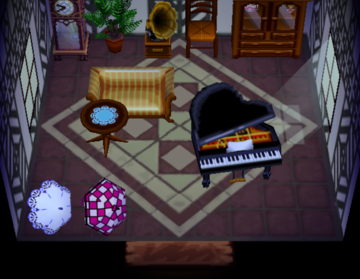 Interior of Gwen's house in Animal Crossing