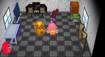 Interior of Moose's house in Animal Crossing: City Folk