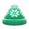 Snowy Knit Cap (Green) NH Icon.png