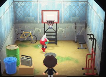 Interior of Kid Cat's house in Animal Crossing: New Horizons
