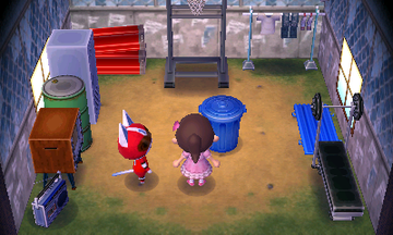 Interior of Kid Cat's house in Animal Crossing: New Leaf