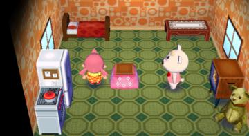 Interior of Tutu's house in Animal Crossing: City Folk