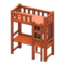 Loft Bed with Desk (Brown - Orange) NH Icon.png