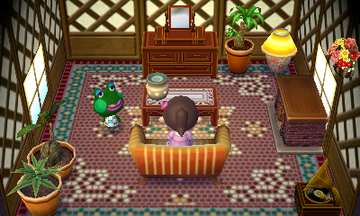 Interior of Jambette's house in Animal Crossing: New Leaf