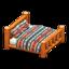 Log Bed (Orange Wood - Geometric Print)