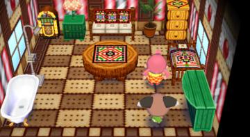 Interior of Melba's house in Animal Crossing: City Folk