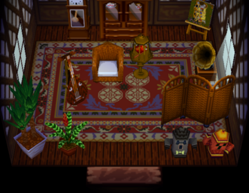 Interior of Pango's house in Animal Crossing