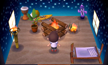 Interior of Simon's house in Animal Crossing: New Leaf