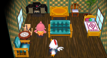 Interior of Goose's house in Animal Crossing: City Folk