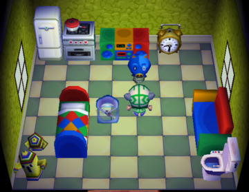 Interior of Hugh's house in Animal Crossing