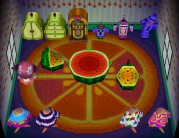 Interior of Zoe's house in Animal Crossing