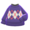 Argyle Sweater (Purple) NH Icon.png