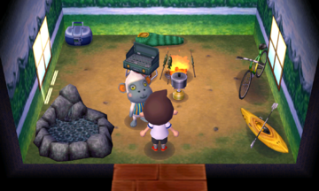Interior of Monty's house in Animal Crossing: New Leaf