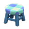 Wooden Stool (Blue - Blue) NH Icon.png