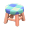 Wooden Stool (Pink Wood - Blue) NH Icon.png