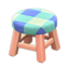 Wooden Stool (Pink Wood - Blue)