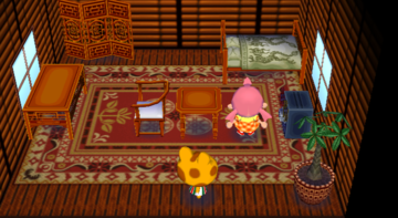 Interior of Cousteau's house in Animal Crossing: City Folk