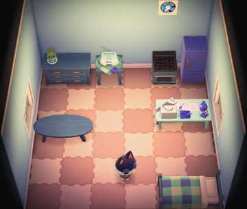 Interior of Punchy's house in Animal Crossing: New Horizons
