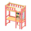 Loft Bed with Desk (Pink - White)