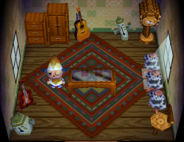 Interior of Belle's house in Animal Crossing