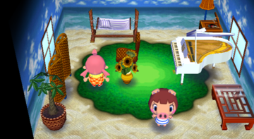 Interior of Peggy's house in Animal Crossing: City Folk