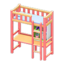 Loft Bed with Desk (Pink - Light Blue)