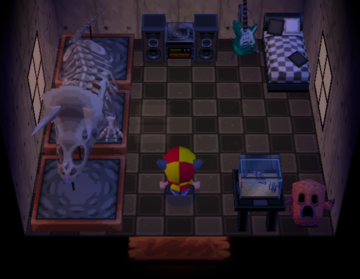 Interior of Wolfgang's house in Animal Crossing