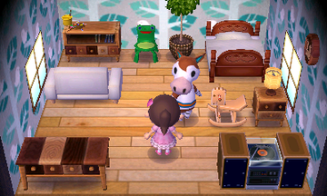 Interior of Papi's house in Animal Crossing: New Leaf